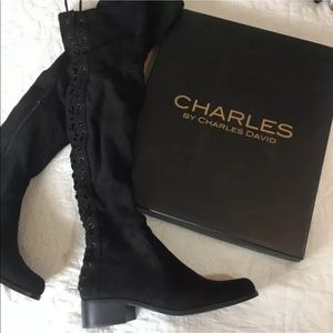 New Charles David Ollie Over Knee lace boots 6